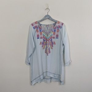 Soft Surroundings Mixteca Bohemian Chambray Tunic